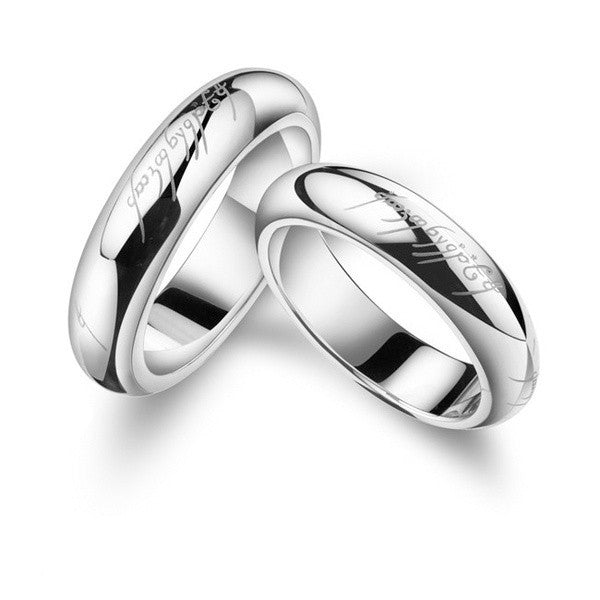 platinum plated lord of the rings couple band rings