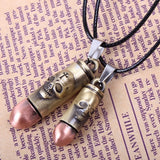 Cross and Skull Engraved Bullet Shell Pendant on Handmade Leather Necklace (Color: Black)