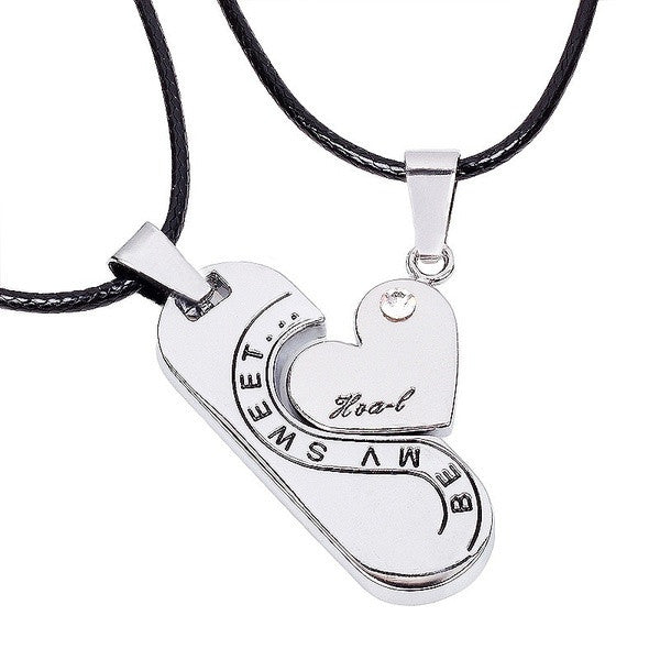 piece day heart pendant silver couple special two valentine product sale half