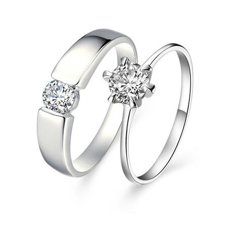 Platinum Plated Cubic Zirconia Couple Band Rings
