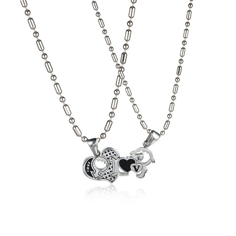 Joint Heart & I Love U Titanium Steel Couple Necklaces