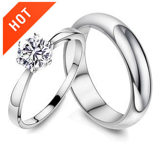 Platinum Plated CZ Diamond Couple Rings