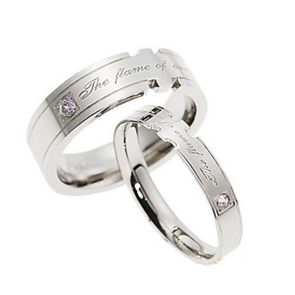 The Flame of Our Love Engraved CZ Diamond Couple Band Rings
