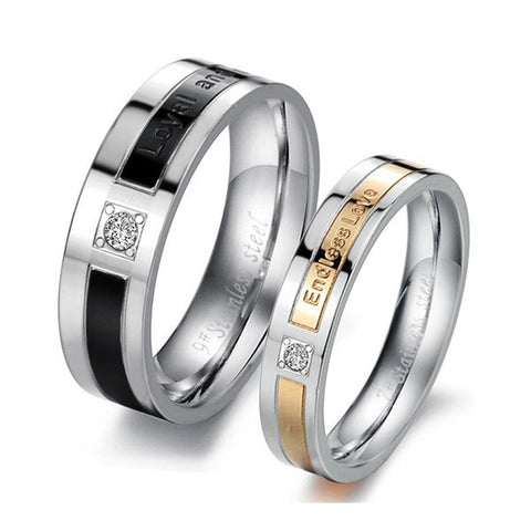 Endless Love CZ Diamond Silver Anniversary Couple Band Rings