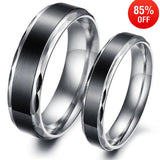 Retro Simple Black 316L Stainless Steel Couple Rings