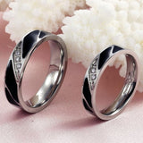 CZ Crystal Titanium Stainless Steel Wedding Band Anniversary Couple Rings