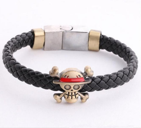 One Piece Bleach Skull Logo Braid Leather Bracelets