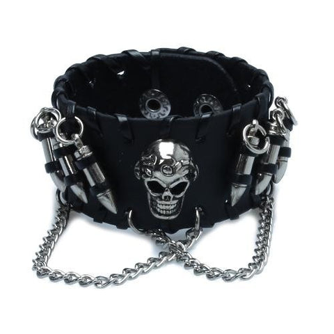 black-mens-gothic-leather-bullet-skull-chain-wristband-bracelets-for-men-53bcb50d59e33e24134c639b