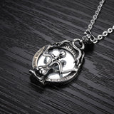 Creative Punk Style Beauty and the Beast Skull Mirror Titanium Steel Pendant Necklace