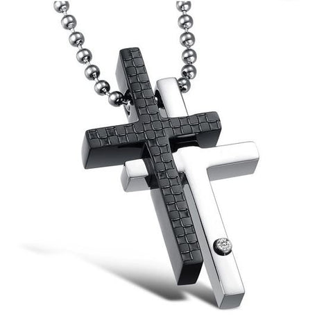 black-rhinestone-cz-inlaid-formula-cross-titanium-steel-pendant--necklace-for-men-781-single-ring---for-male-only-53e7cbf817a9cb57f693bd34