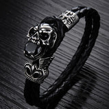 Devil Skull Rock Trend Leather Men's Bracelet