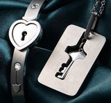 Heart Lock Key Necklace& Bangle For Couple