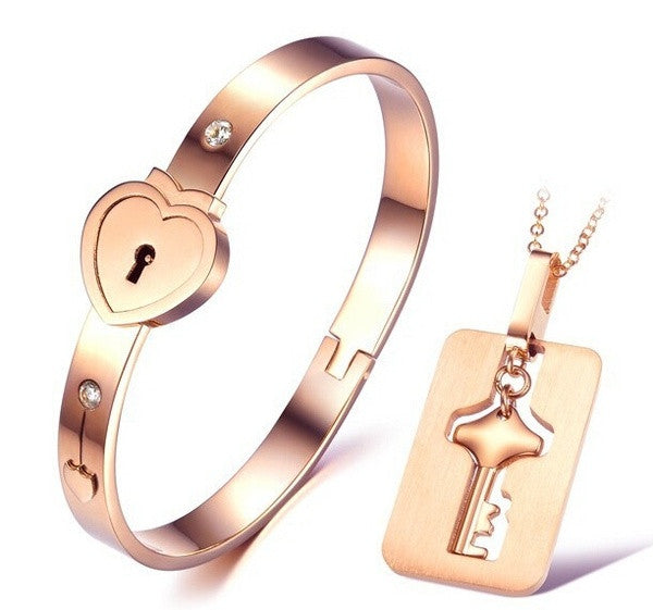 7b121535b Fashion Couple Jewelry Heart Women's Bracelet Lock Key Men Necklace ...