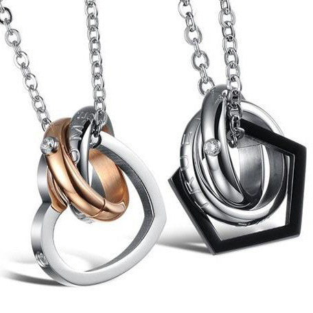 Heart and Geo Couple Necklaces