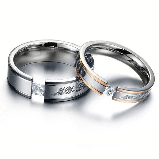 | My Love| Crystal CZ Diamond Titanium Steel Promise Couple Rings