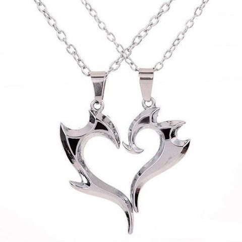 Heart Magic Wand Pendant Silver Couple Necklaces