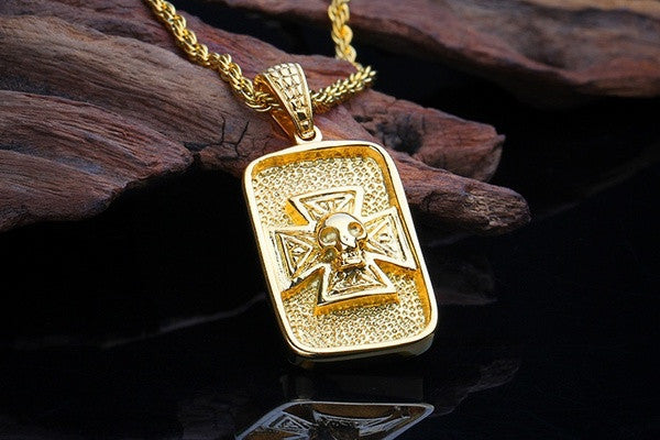 2015 New 316L Titanium Steel Plated Gold Skull Necklaces Pendants