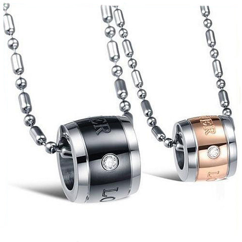Fashion 316L Titanium Steel Couples Lovers Necklaces Pendants