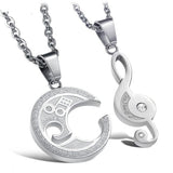 Engraved Musical Notes Interlocking Couple Necklaces
