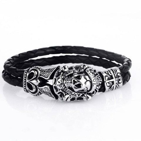 Classic Punk Skull LOVE Leather Weaving Wristband Titanium Steel Bracelet Bangles (Color:Black)