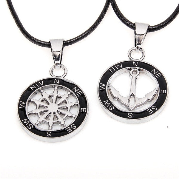 Round pendant compass anchor pendant necklace couples lovers chain compass anchor pendant couple necklaces aloadofball Image collections