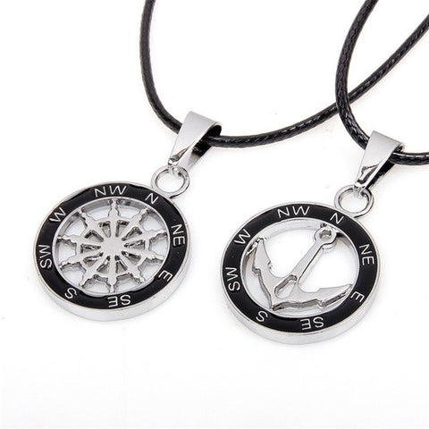 Compass Anchor Pendant Couple Necklaces