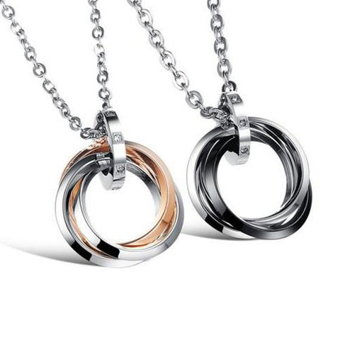 Three Rings Titanium Pendant Couple Necklaces