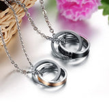 Eternal Love Interlock Crystal Drills Rings Couple Necklaces