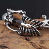 316L Stainless steel punk Fashion Skeleton Cool Man's Skull 21cm Bracelet For Man Skull (Color: Silver gray)