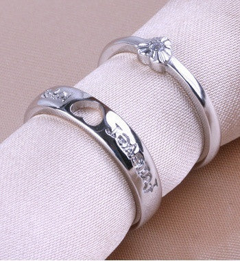f0b39be7f5 1 pair 925 sterling silver Lovers Heart Silver Crystal Couple Rings ...