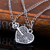 Key & Heart Antique Silver Couple Necklaces