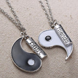 HandStamped Best Friends Yin Yang Puzzle Couple Necklaces