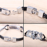 Fashion Titanium Skull Jewelry Men Womens Bracelet PU Leather Chain Bracelet Hipsters Best Gifts (Color: Black)