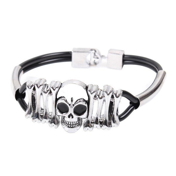 Fashion Titanium Skull Jewelry Men Womens Bracelet PU Leather Chain