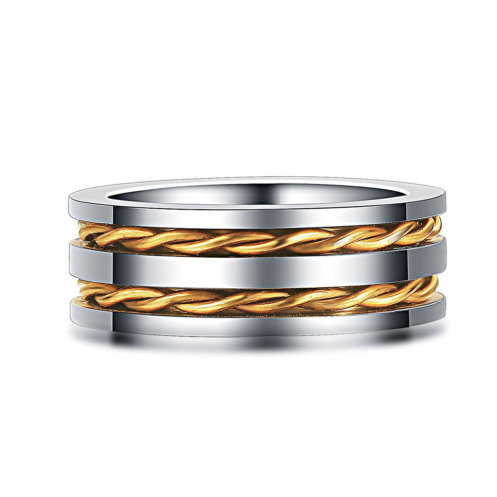Double Gold Rope Inlaid High Polished Edges Ring For Men Mens