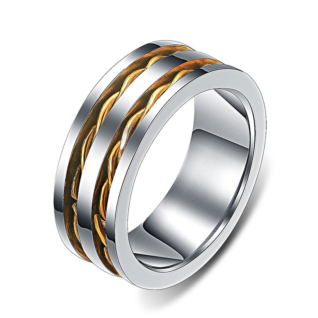 Double Gold Rope Inlaid High Polished Edges Ring For Men Men's Wedding Ring