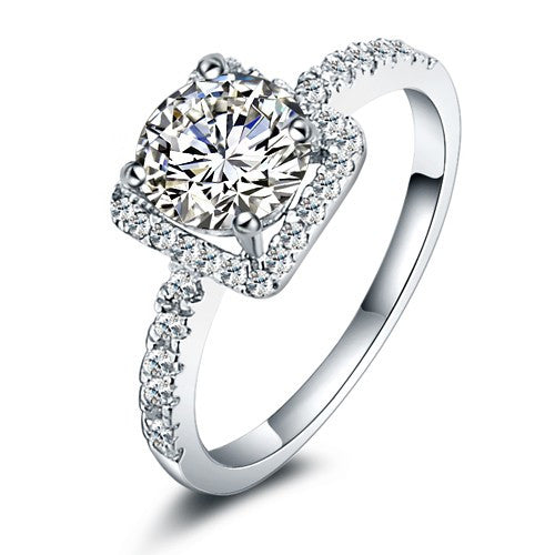 Women's Engagement Rings Wedding Square Cubic Zirconia 925 Sterling Silver Silver