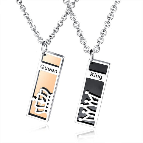 Queen and King Titanium Steel Couple Necklace