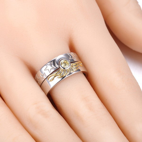 half engagement ct tw ring zirconia cubic p rings moon yellow gold in