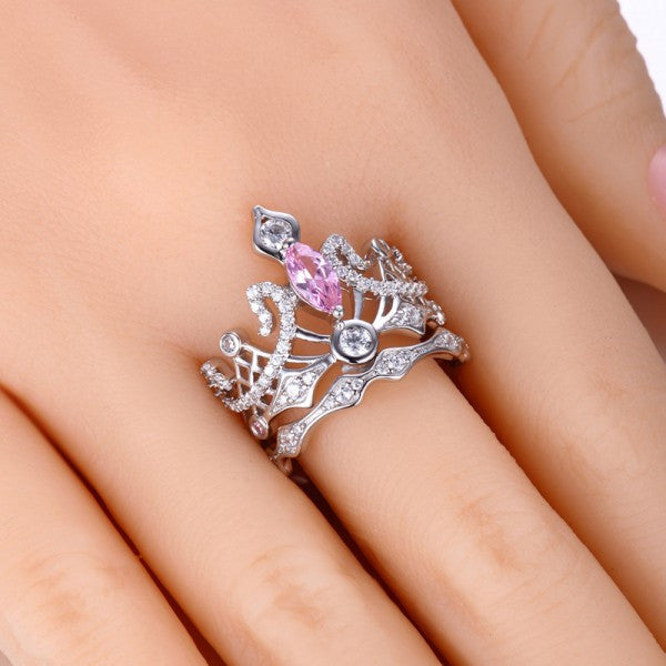 crown shaped pink diamond engagement ring - Crown Wedding Rings