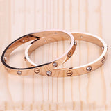 Personalized Couple Bangles Bracelets Daily Stylish Rivets Stainless Steel Gold