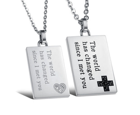 Rectangle Board Stainless Steel Lover's Necklaces