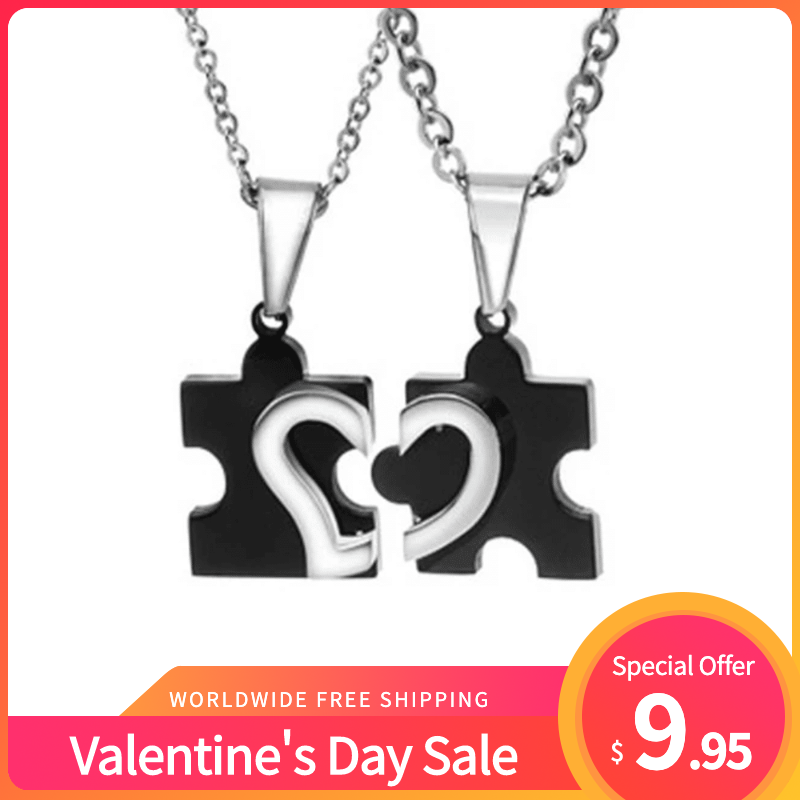 Valentine's Day Sale Titanium Jigsaw Pieces Heart Pattern Lover's Necklaces
