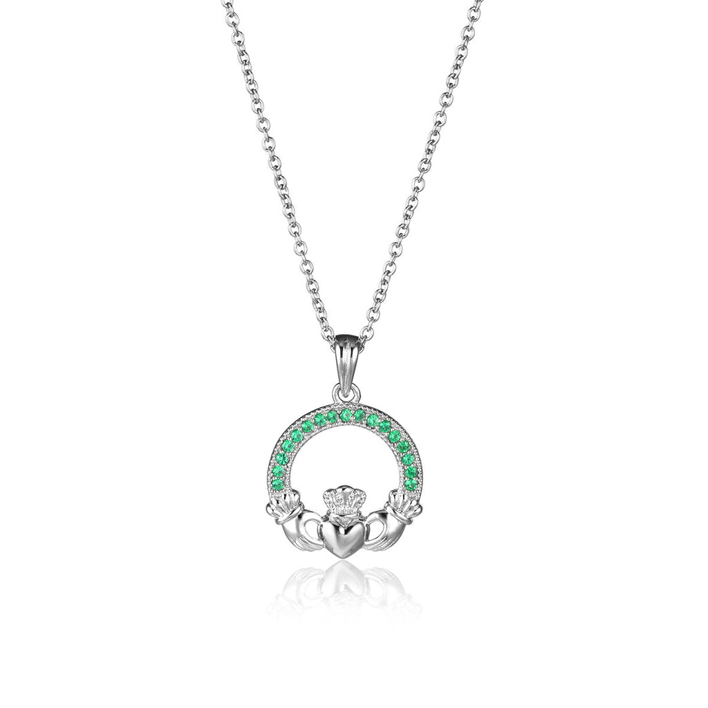 925 Sterling Silver Claddagh Pendant Necklace With CZ Inlaid