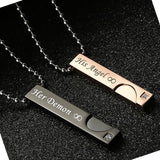 His Angel & Her Dream Matching Lettering Stainless Steel Couple Pendant Necklace