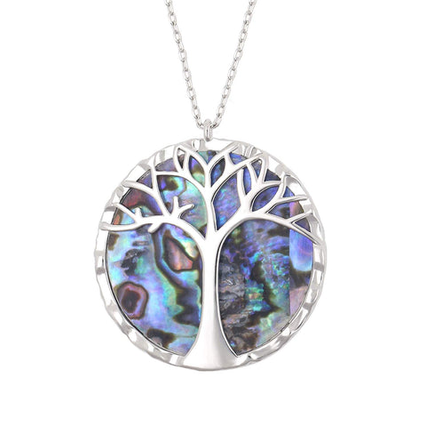 Natural Shell Tree of Life Round Pendant Necklace