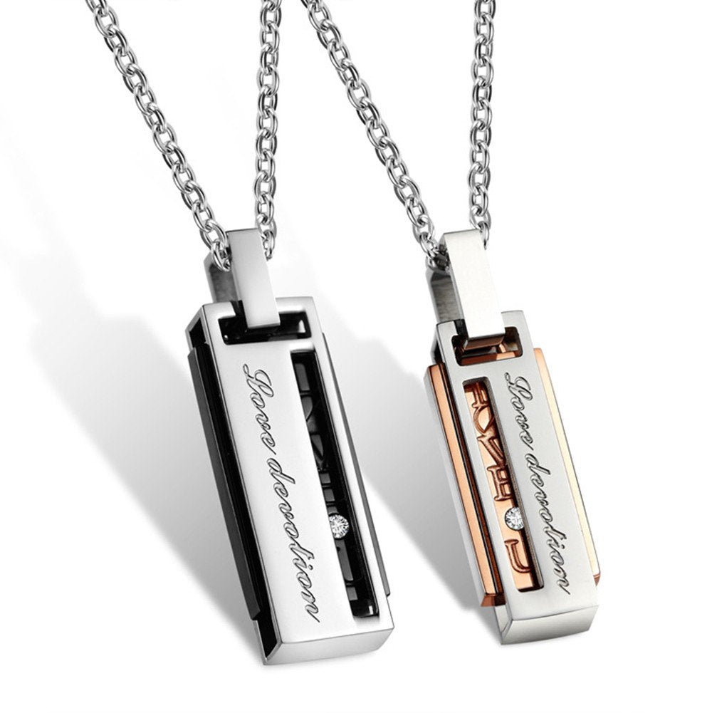 His & Hers Matching Set Rectangle Titanium Stainless Steel Pendant Necklace