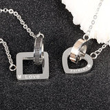 Men and Women's Cubic Zircon Inlaid Love Ring Couple Pendant Necklaces