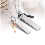 His & Her Titanium Steel Eternal Love Promise Pendant Set