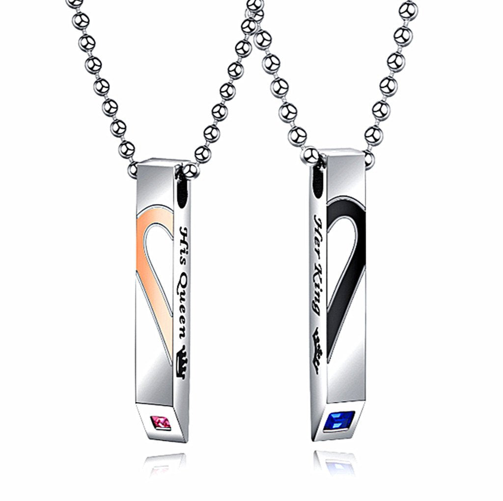 His & Hers Matching Set Titanium Stainless Steel Pendant Necklace
